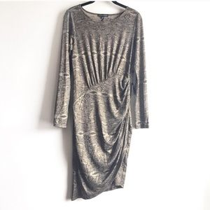 Adrianna Papell Lace Print Long Sleeve Dress NWT